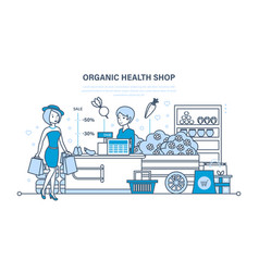 Girl attends organic store for large shopping vector