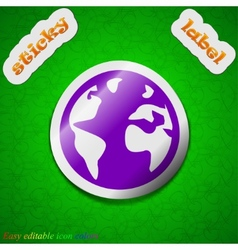 Globe icon sign Symbol chic colored sticky label vector