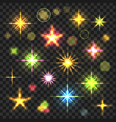 Glowing stars flares set vector