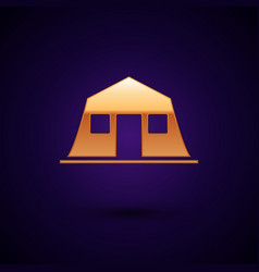 Gold military barracks station icon isolated vector