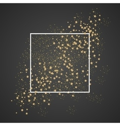 Gold sparkles and stars with white frame on black vector image