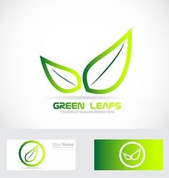 Green leafs bio logo organic vector