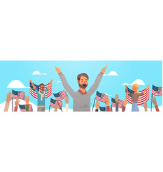 happy people holding united states flags vector image