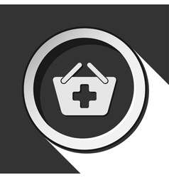 Icon - shopping basket plus with shadow vector