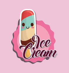 kawaii ice cream icon vector image
