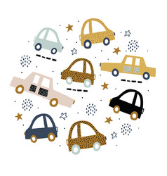 Kids circle with cute cars vector