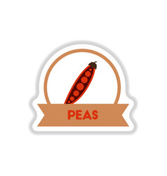 label icon on design sticker collection peas with vector image