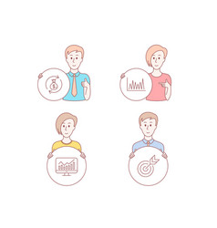 Line graph money exchange and statistics icons vector