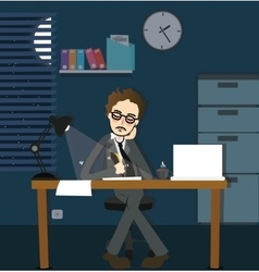 Man working late night deadline in office alone vector