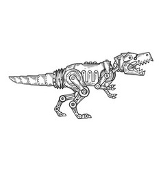 Mechanical dinosaur animal engraving vector