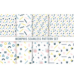 memphis seamless patterns set collection vector image