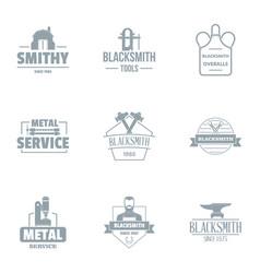 Metal logo set simple style vector