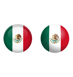 mexico flag under 3d dome button and on glossy vector image