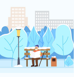 Old man reading newspaper in winter city park vector