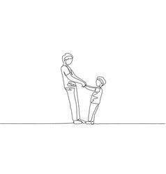 one continuous line drawing young father and vector image