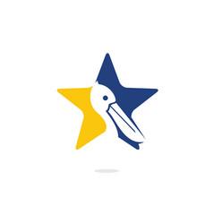 Pelican and star logo design vector