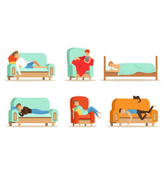 People sleeping in different positions at home vector