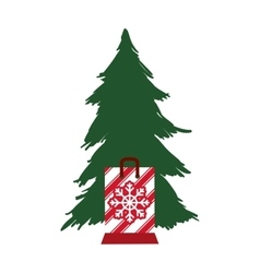 pine tree merry christmas design vector image