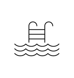 pool ladder line icon on white background vector image