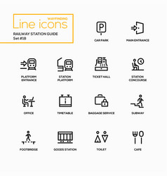 railway station guide - modern single line vector image