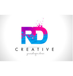 Rd r d letter logo with shattered broken blue vector