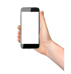 Realistic hand holding mobile phone isolated on vector