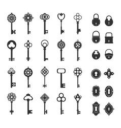 Retro locks and keys set vintage silhouettes for vector