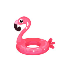 Rubber ring in shape of bright pink flamingo vector