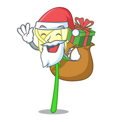 Santa with gift beautiful white rose on the vector