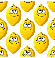 Seamless pattern of smiling yellow lemons vector