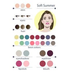Seasonal color analysis palette for soft summer vector