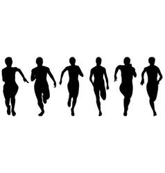 Set athletics woman runners vector