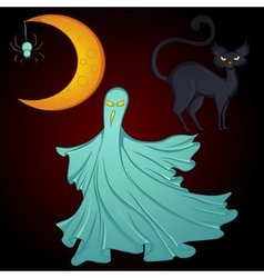 Set for Halloween moon ghost cat vector