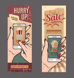 Set with vintage sale banners with hands vector