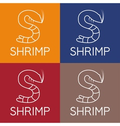 shrimp monogram vector image