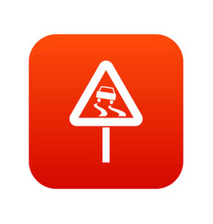 Slippery when wet road sign icon digital red vector