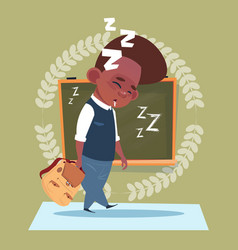 Small school boy sleep tired standing over class vector