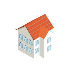 small town building 3d isometric icon vector image