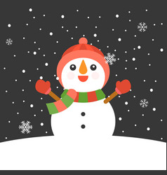 snowman with mitten vector image