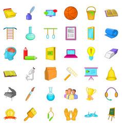 Sport education icons set cartoon style vector