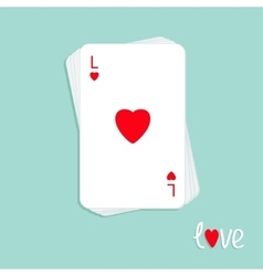 Stack of poker playing card with red heart sign vector image