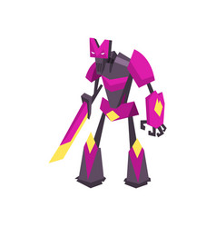 Strong robot transformer in bright purple color vector