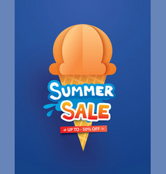 summer sale poster with ice cream cone on blue vector image