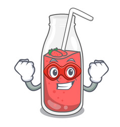 super hero strawberry smoothie character cartoon vector image