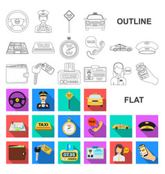 Taxi service flat icons in set collection for vector