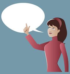 Teen girl and empty speech globe cartoon retro vector