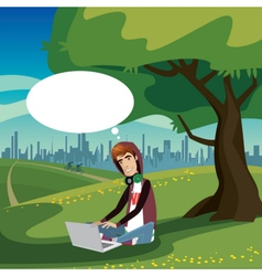 Teenager sitting in city park vector