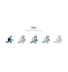 Theft icon in different style two colored and vector