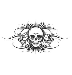 three skulls tattoo vector image