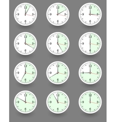 Twelve clocks showing different time vector image